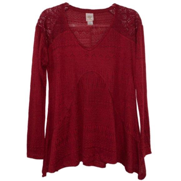 Self Esteem Tops - Self Esteem Lacey Long Sleeve Tunic Top - Size XL